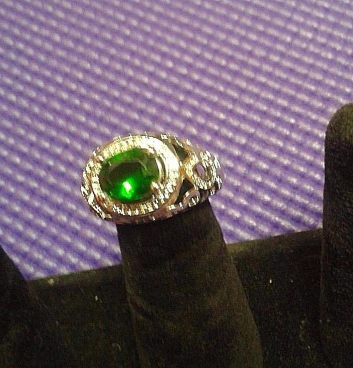 CANADIAN  STERLING SILVER   RING SIZE 9. WHITE TOPAZ .PERIDOT ..