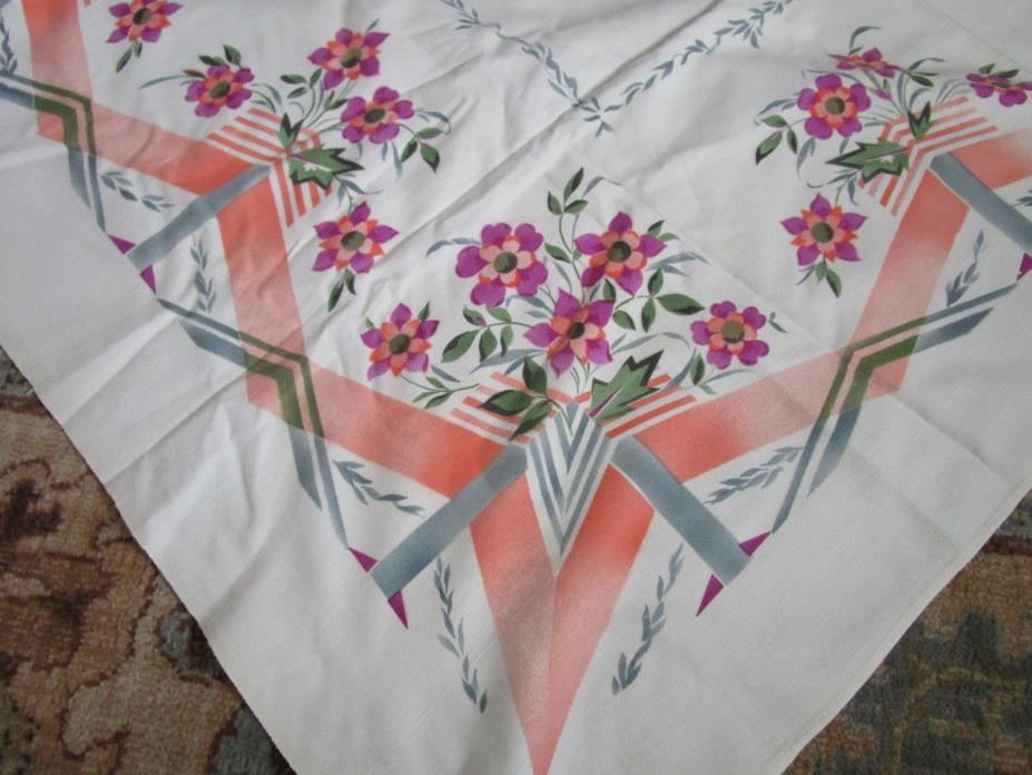 Vtg EUC Hand Printed Cotton Floral Tablelcoth 52x56