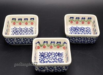 Polish Pottery Bolesclawcu* 3 SQUARE DISHES * 4