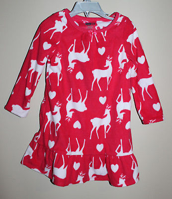 NWT Crazy 8 by Gymboree Girl Red Christmas Reindeer Gown Fleece Pajamas Sz: 2-3