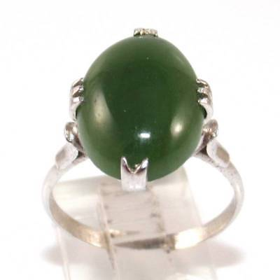 Vintage Sterling Silver Green Nephrite Jade Ring Size 8.75