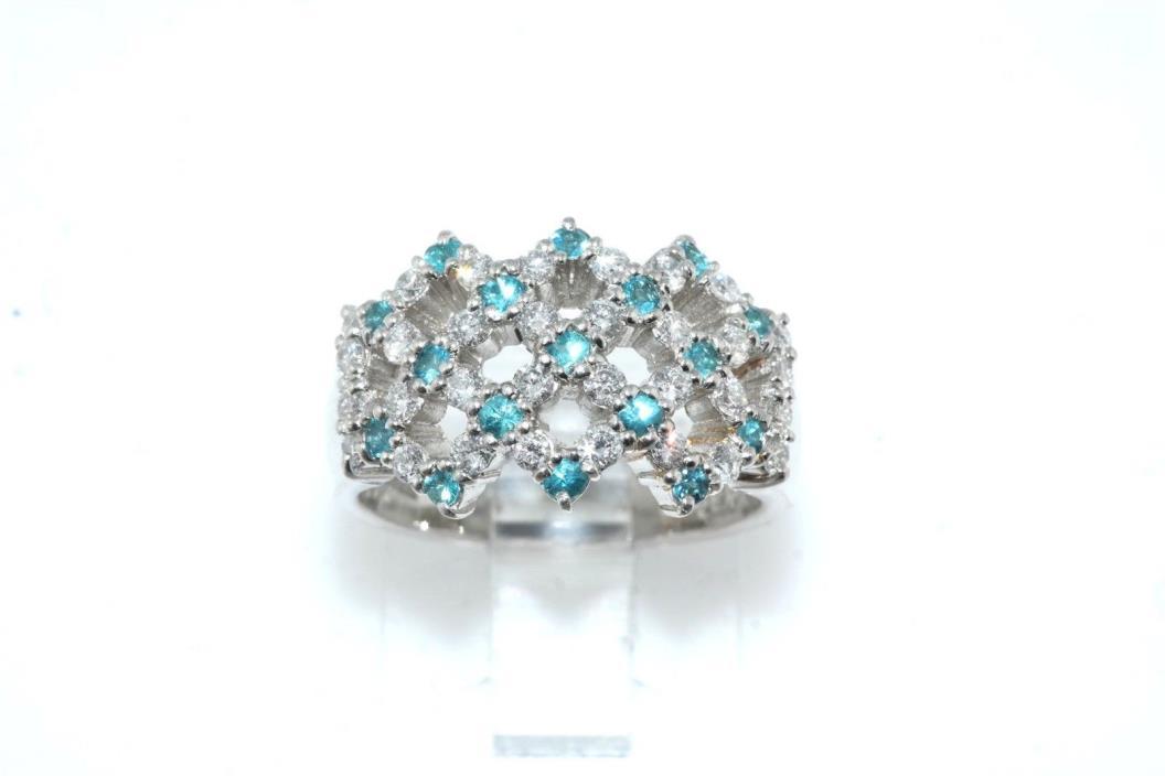 Platinum Diamond & Blue Topaz Basket Weave Designed Band Ring sz 6