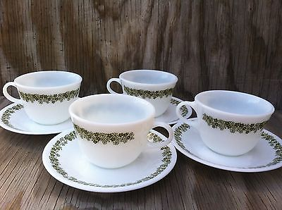 Pyrex Corelle Spring Blossom Round Bottom Cups & Saucers 4 Sets