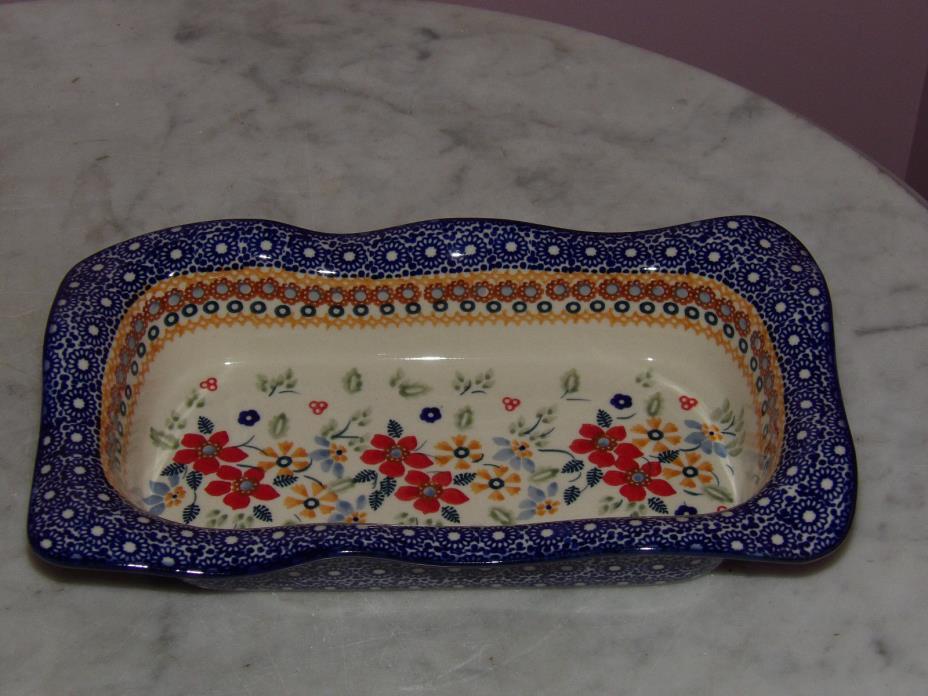 Genuine UNIKAT Polish Pottery Rectangle Wavy Baker Baker! Rembrandt Pattern!