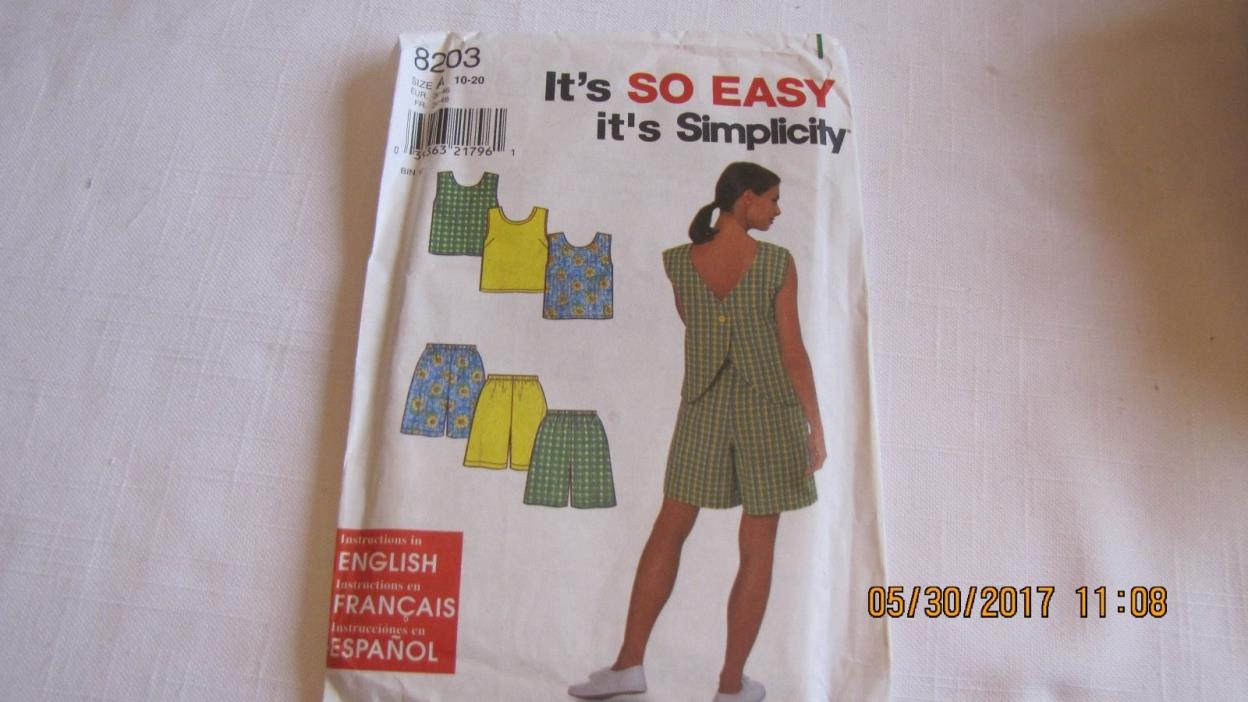 Simplicity Pattern 8203  Size A- Misses Top and Shorts
