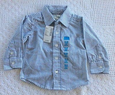 NWT Infant Boy's Blue/White Stripe Children's Place L/S Shirt 6-9 mos.