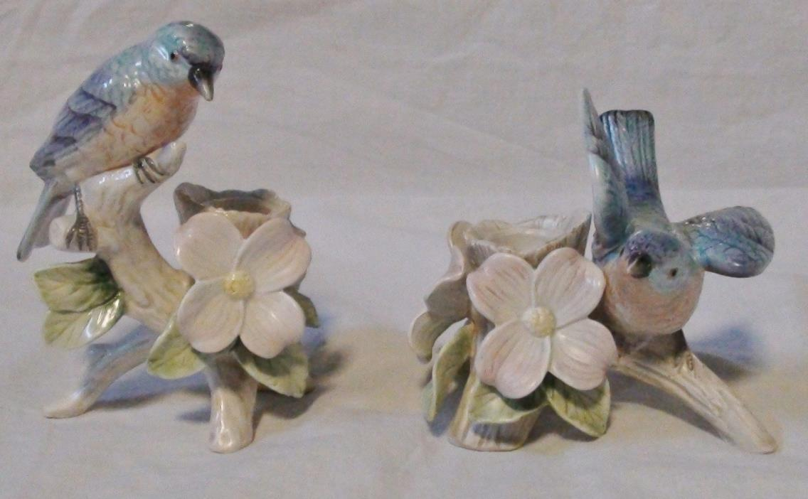 RARE FITZ & FLOYD SET OF 2 BLUE BIRDS CANDLESTICK CANDLE HOLDERS