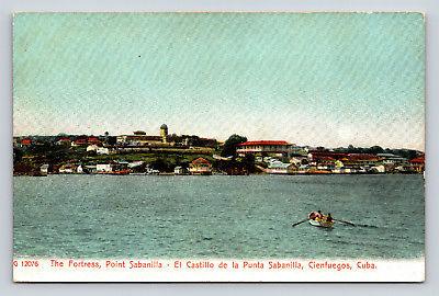 Postcard CUBA The Fortress Point Sabanilla Cienfuegos Ocean Row Boat Vintage