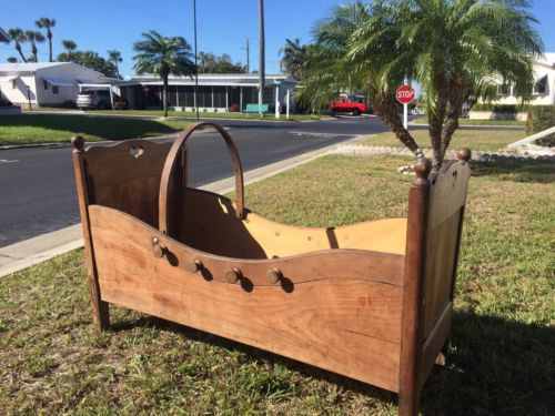 Antique Baby Crib, Arts And Crafts, Handcrafted, Very Old, Unique & Unusual.