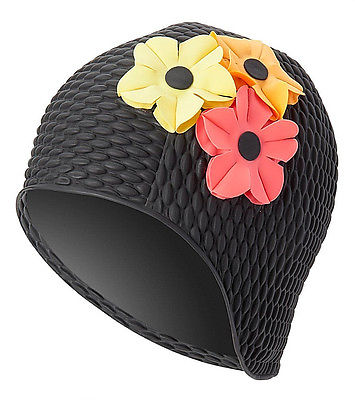 Vintage Style Black Swim Bathing Cap Floral Bubble Multi-Color Flowers Adult New