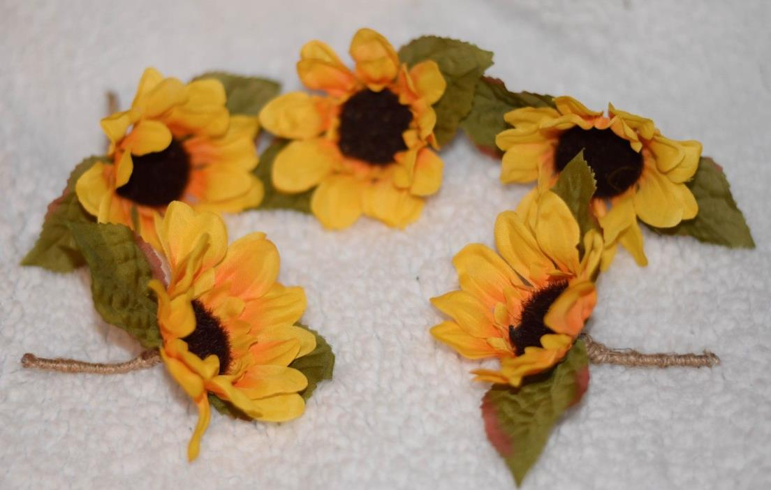 5x Yellow Sunflower Burlap Jute Boutonnieres Wedding Rustic USA seller