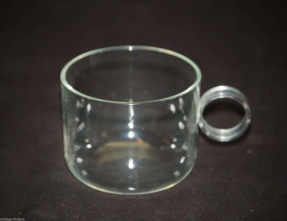 Old Vintage Clear Glass Cup Mug w Round Handle Glassware Kitchen Tool