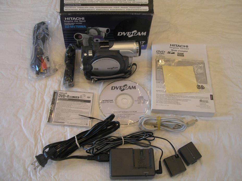 Hitachi DZ-MV750MA Camcorder Complete Battery Charger Manual all Plug ins & disc