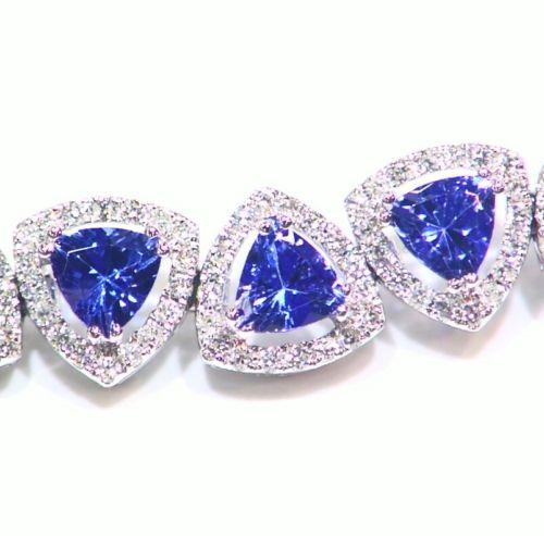 12.85CT 14K Gold Natural Tanzanite White Diamond D Block Halo Tennis Bracelet