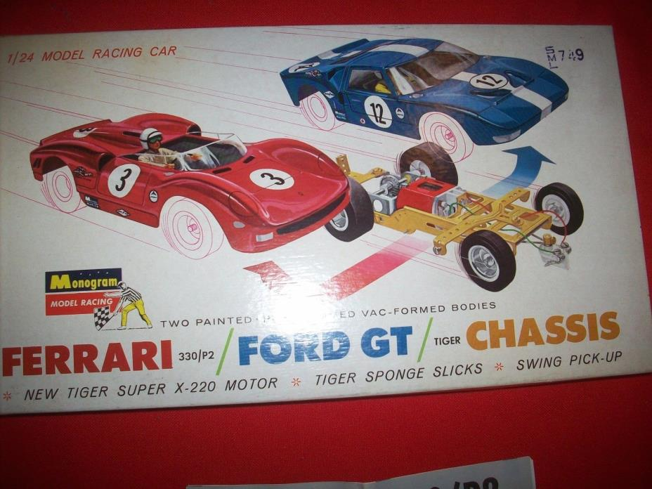 Vintage 1960's NOS Monogram Ferarri / Ford GT / Chassis 1/24 Slot Car Kit in Box