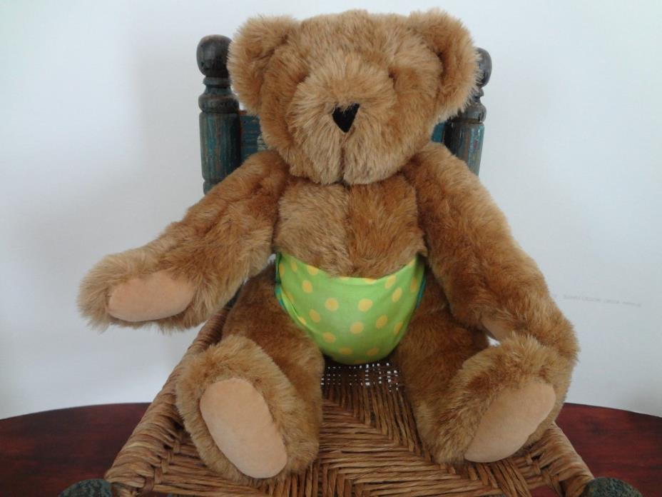 Vintage VERMONT TEDDY BEAR CO brown bear with green & yellow polk dot diaper 16