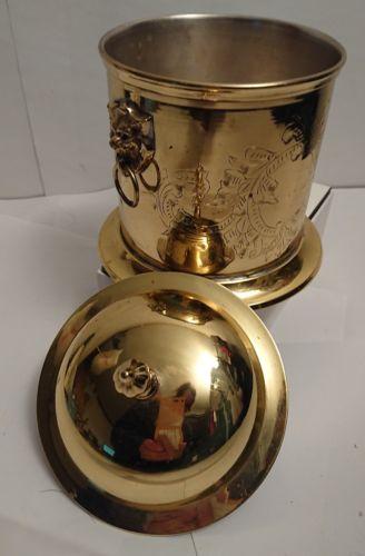Vintage  Ice Bucket lid  with Lion Head Handles vintage