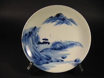 Meiji Japanese Blue White Imari Arita Porcelain Ceramic Plate Dish Landscape