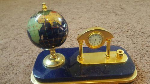 BLUE GLOBE DESK PEN Holder and , Clock