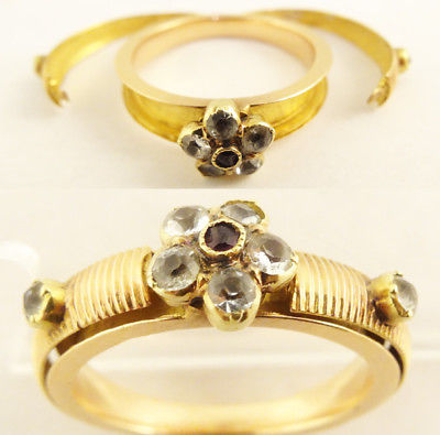 Antique Georgian Mourning Memorial Ring Gold Gems Secret Lockets French (#5661)