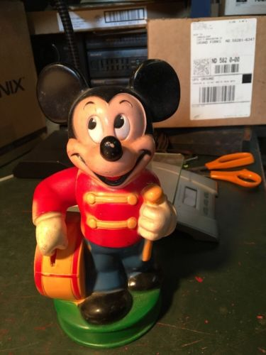 mickey mouse bank Disney drum major arm drops coin in bank vintage disneyana