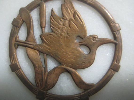 Crane, Heron Bird Brass Round Medallion, Older Vintage Asian Style Art Nouveau