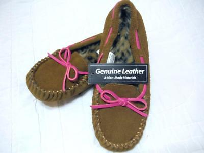 Slipper Moccasin Sz 5-6 Leather Brown Man Made Pink Leather Laces NOS+