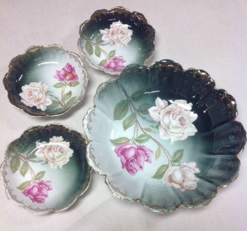 VTG MALMAISON R C GOLD TRIM PORCELAIN PINK & WHITE ROSES BOWL/(3) Berry Bowls