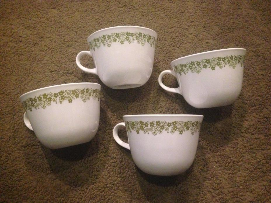 Set of 4 Vintage Corelle Corning Green Crazy Daisy Coffee Mugs Cups