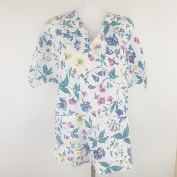 White Swan Womens Scrub Top Medical Veterinary Shirt Floral Size M