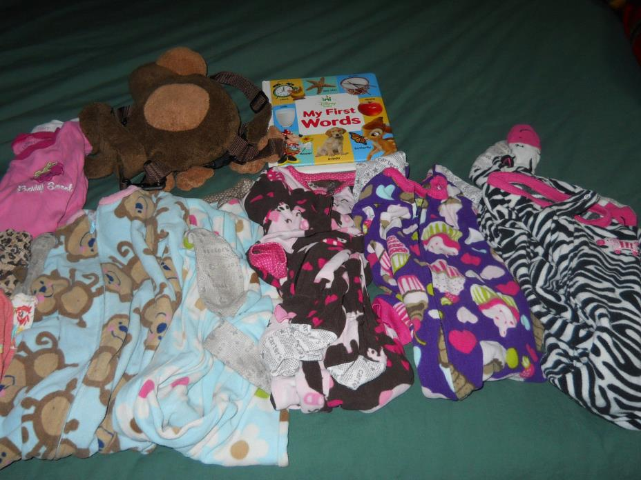 Lot of PJs, backpack,first word book, shirt and pants size 2-3