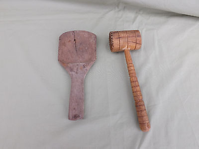 Lot of 2 Antique Wooden Kitchen Utensils- Spatula and Meat Tenderizer