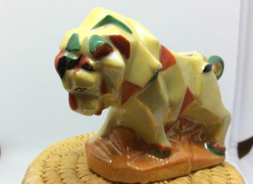 Japanese Vintage Lustreware Lion Porcelain Figural Pin Cushion Holder