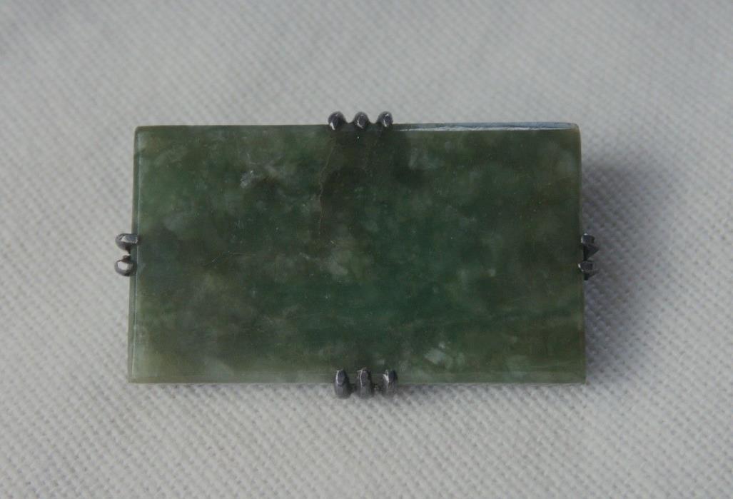 Antique Jadeite Jade Silver Brooch