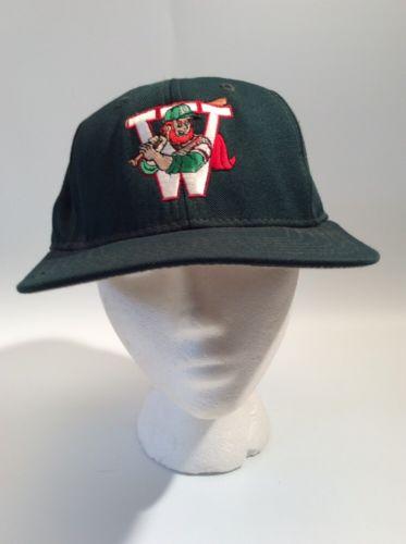 Green Baseball Hat, Cap - Emblem Of W & Irish Man Cartoon Holding Bat - 7 1/2
