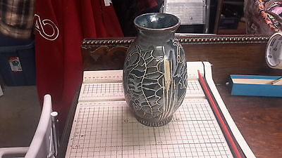 VINTAGE ART POTTERY VASE WITH SEAHORSE  - V.O. WALTER VANCOUVER, B.C.  - 8 INCH