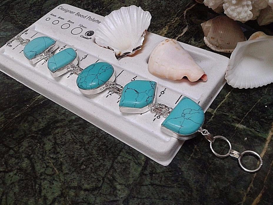 .BRACELET  SIZE 9  TURQUOISE   STERLING SILVER 42  GRAM. TOTAL HAND MADE