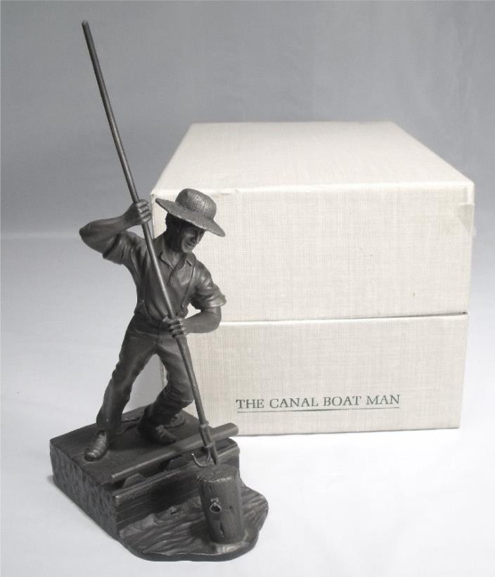 1974 FRANKLIN MINT CANAL BOAT MAN AMERICAN PEOPLE SERIES PEWTER SCULPTURE w/BOX