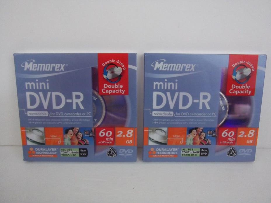 Memorex DVD-R Recordable For DVD Camcorder or PC lot of 2 Disks NEW SEALED disc