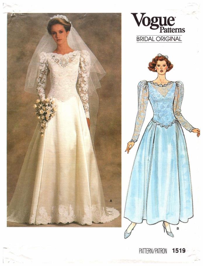 Vintage Pattern Vogue 1519 Bridal Original Wedding Attendant Dress 12/34 1985 UN