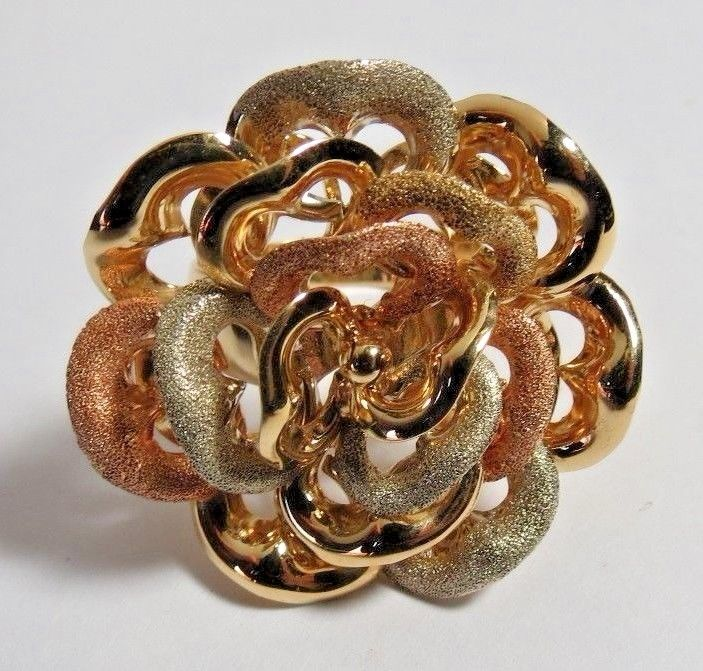 BEAUTIFUL MADE IN ITALY LADIES 14K YELLOW SOLID GOLD FLOWER RING SZ 10.  13 35gr