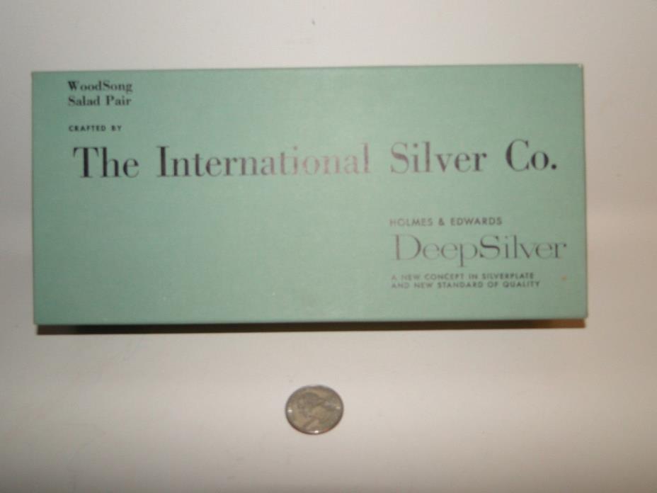 Holmes & Edwards Deep  Silverplate Salad Pair Original Box WOODSONG