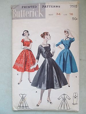 VINTAGE 50's BUTTERICK PATTERN 7515 COCKTAIL PARTY DRESS DAY DRESS UNCUT SZ 16