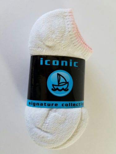 Girls Iconic Signature Collection Ankle Socks 3 Pair Size 4-6 White          173