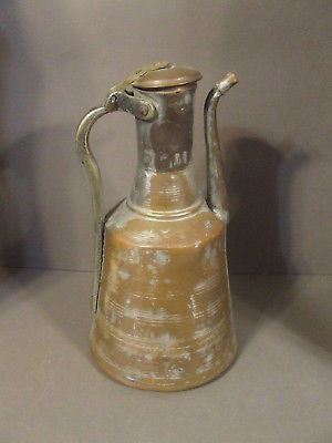 ANTIQUE HAND FORGED TURKISH POT METAL JUG PITCHER WITH BRASS HANDLE