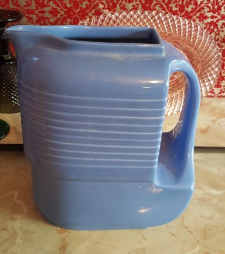Vintage Hall China Co exclusively Westinghouse Refrigerator Pitcher Blue ribbed