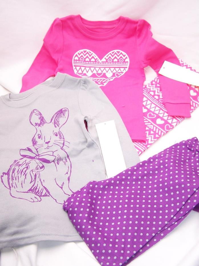 Heart 4 PC Toddler Girl Cotton Tight Fit Shirt Pants Pajama Set 3T  PJ bunny