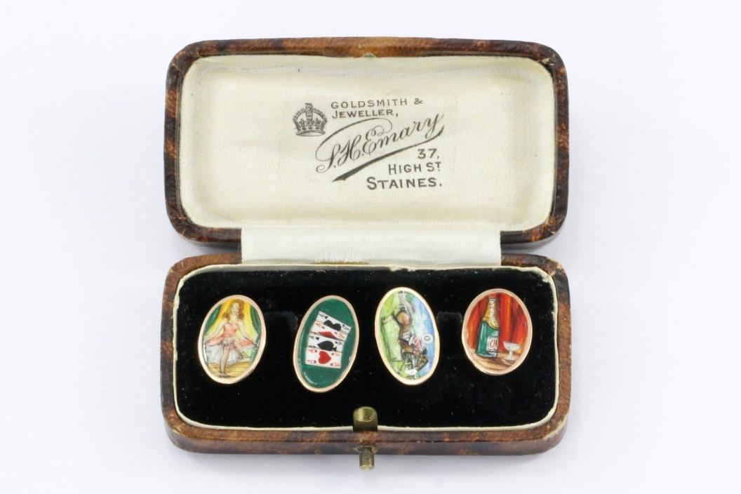 Victorian 9 CT Yellow Gold Enamel Four Vices Cufflinks