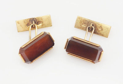 Soviet Russia vintage silver ? modern cufflinks with brown gemstone
