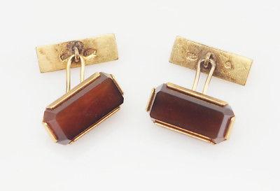Soviet Russia vintage silver ? modern cufflinks with brown gemstone
